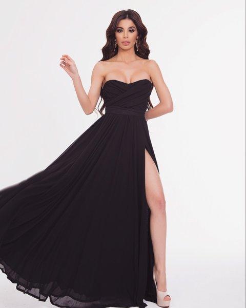 Мегз дълга рокля с бюстие и цепка